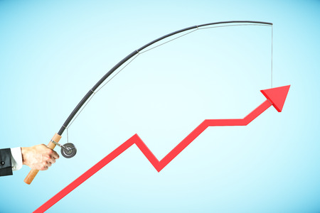 achievment: Upward chart arrow suspended on fishing rod. Blue background. Business management concept. 3D Rendering