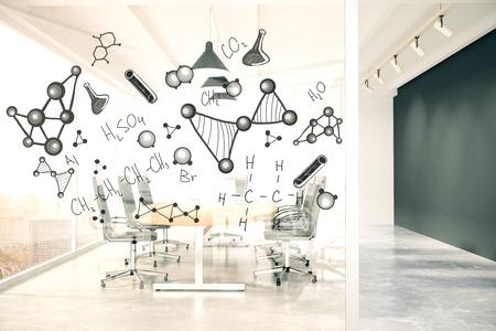 Intérieur moderne salle de conférence avec des formules chimiques sur le mur de verre. rendu 3D