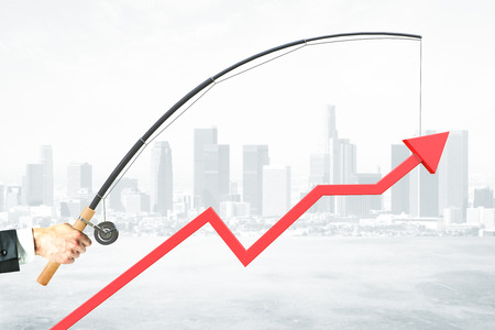 achievment: Upward chart arrow suspended on fishing rod. City background. Business management concept. 3D Rendering