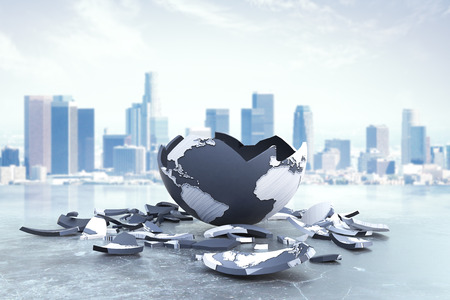 Broken planet on city background. Global problems and risks. 3D Rendering Stock Photo
