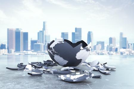 Planeta roto en el fondo de la ciudad. Problemas y riesgos globales. Representación 3D