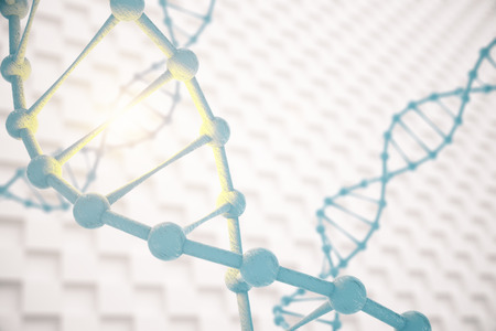 replication: Closeup of DNA molecule structure on abstract patterned background with abstract light. 3D Rendering