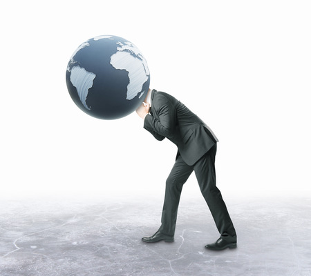sphere standing: Businessman with terrestrial globe instead of head on white background. 3D Rendering. Global business concept