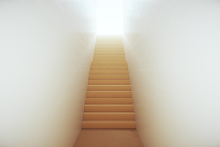 leading light: Abstract narrow staircase leading to bright light. Success concept. 3D Rendering