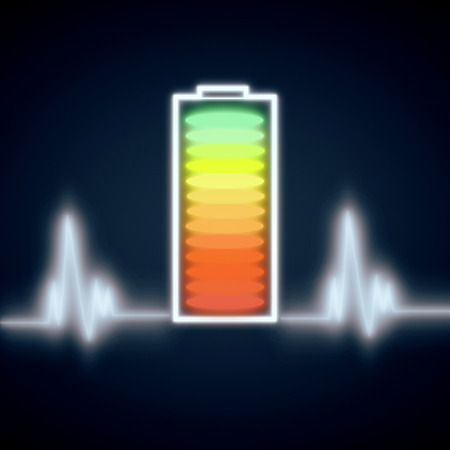 Segmented battery icon and abstract heartbeat on dark background. Energy concept