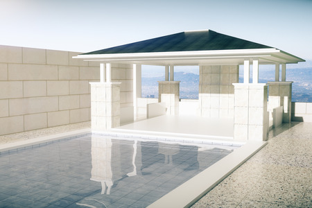 upmarket: Luxurious swimming pool and patio exterior on sky background. 3D Rendering Stock Photo