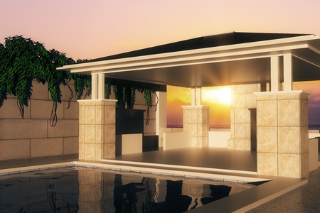 upmarket: Luxurious swimming pool with patio and greens plants at sunset. 3D Rendering