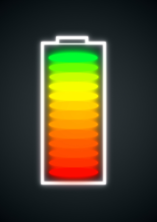 segmented: Abstract segmented battery icon on dark background. Energy concept