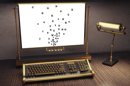 miscellaneous: Close up of vintage typing machine and miscellaneous letters on paper. Information concept. 3D Rendering Stock Photo