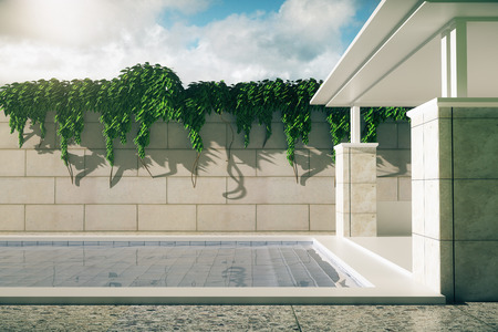 back yard: Side view of luxurious outdoor pool and patio exterior with green trees on sky background with sunlight. 3D Rendering