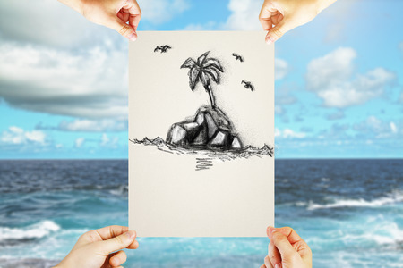 four hands: Four hands holding paper sheet with creative pencil drawing of island on blue sea and sky background. Travel concept