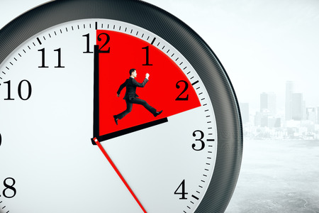 Tiny businessman running inside clock with red quarter on city background. Deadline concept. 3D Rendering Stock Photo