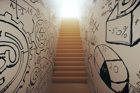 leading light: Abstract narrow staircase with business sketches leading to bright light. Success concept. 3D Rendering