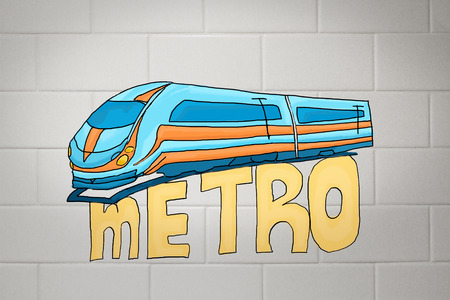 highspeed: Creative colorful sketching of train on concrete tile background. Metro concept Stock Photo