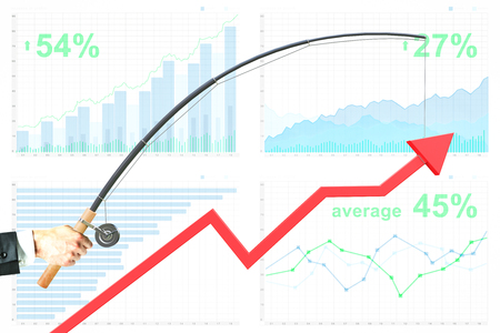 achievment: Upward chart arrow suspended on fishing rod. Financial report in the background. Business management concept. 3D Rendering