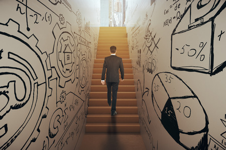 Back view of young businessman in suit climbing abstract narrow ladder with business sketches leading to bright city. Success concept. 3D Rendering