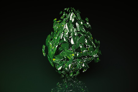 Abstract broken green glass figure on dark background with reflection. 3D Rendering Stock Photo