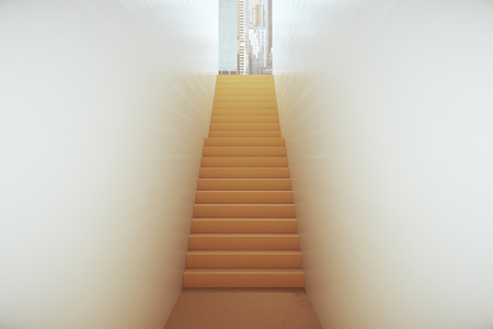 Abstract Narrow Staircase Leading To Bright City. Success Concept. 3D  Rendering Stock Photo