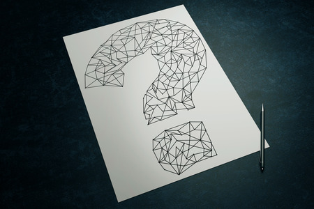 mark pen: Top view of dark surface with creative sketching of polygonal question mark and pen on paper sheet. 3D Rendering