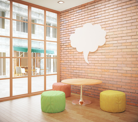 thought cloud: Red brick hipster interior with small coffee table, seats, abstract thought cloud on wall and city view. Mock up, 3D Rendering