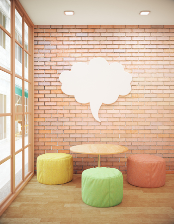 wall cloud: Red brick hipster interior with small coffee table, seats, abstract thought cloud on wall and city view. Side view. Mock up, 3D Rendering