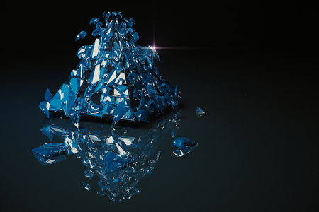 crack up: Abstract broken blue glass figure on dark background with reflection. 3D Rendering