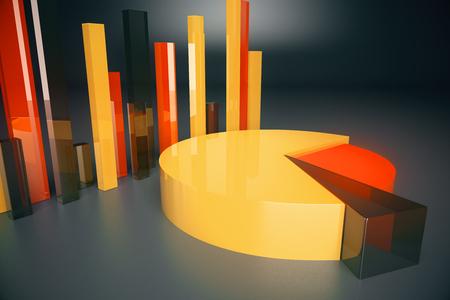 voluminous: Voluminous orange business diagrams on dark background. 3D Rendering Stock Photo