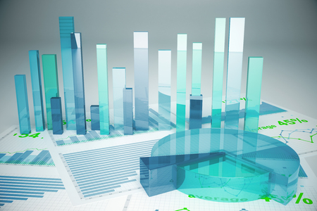 voluminous: Abstract blue financial charts on light background. 3D Rendering