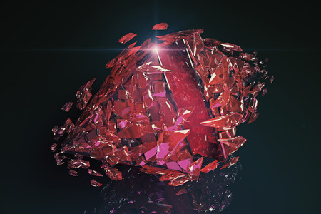 Abstract broken red glass figure on dark background with reflection. 3D Rendering