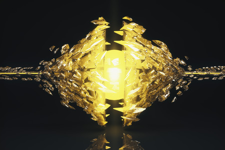 Abstract broken yellow glass figure on dark background with reflection. 3D Rendering