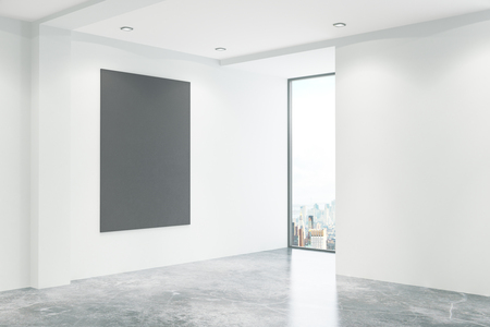 office window view: Empty concrete office interior with blank blackboard and window with city view. Mock up, 3D Rendering