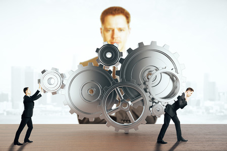 watching 3d: Two businessmen pushing and dragging abstract gear mechanism on light city background with another businessman watching them. Supervision concept. 3D Rendering