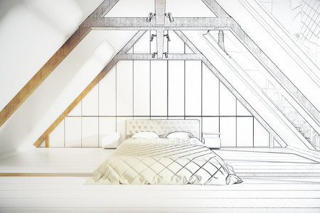 loft: Unfinished loft bedroom project with furniture. 3D Rendering