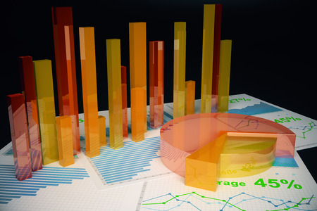 voluminous: Voluminous orange business charts on dark background. 3D Rendering Stock Photo