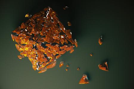 Abstract broken orange glass figure on dark background. 3D Rendering