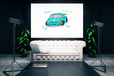 professional lighting: Studio interior with car sketch, sofa and professional lighting. Transportation concept. 3D Rendering Stock Photo