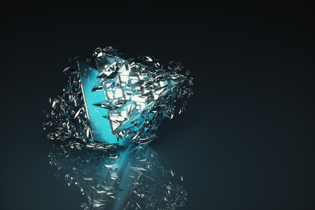 crack up: Abstract broken light blue glass figure on dark background with reflection. 3D Rendering