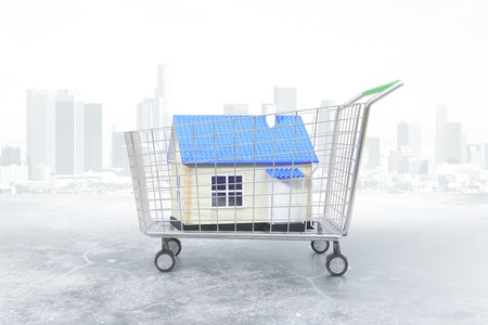 ownerships: Trolley with blue house on city background. Concept of buying property. 3D Rendering