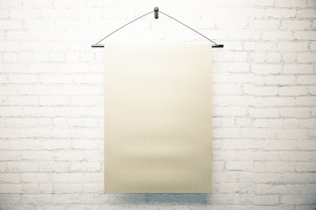 suspended: Blank paper sheet suspended on white brick wall. Mock up, 3D Rendering