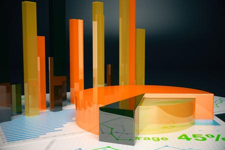 voluminous: Voluminous orange business graphs on dark background. 3D Rendering