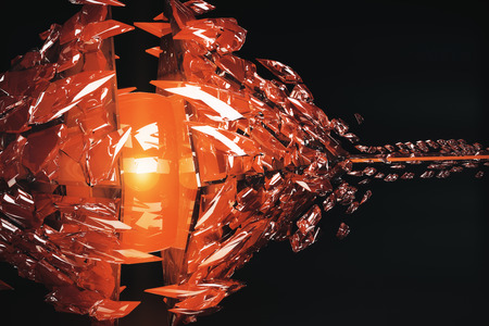 Abstract broken copper glass figure on dark background. 3D Rendering