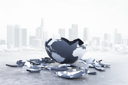 Broken globe on city background. Global problems and risks. 3D Rendering