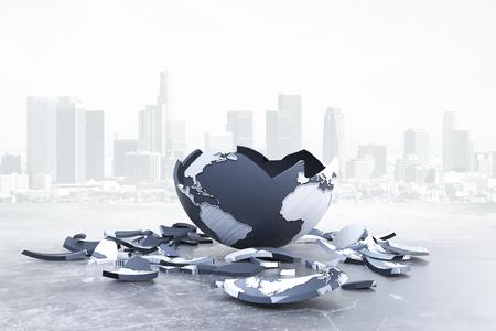 Gebroken bol op achtergrond van de stad. Mondiale problemen en risico's. 3D Rendering Stockfoto