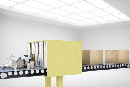 conveyor system: Mail conveyor in concrete interior. Packaging service and parcel transportation system concept. 3D Rendering