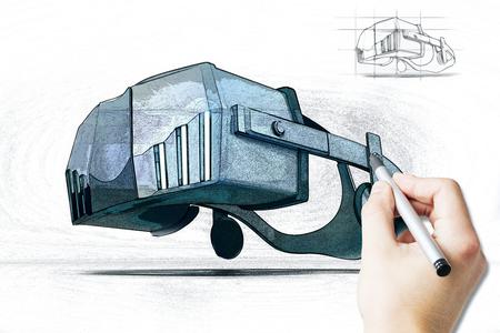 virtual reality simulator: Male hand drawing virtual reality simulator on light background. 3D Rendering Stock Photo