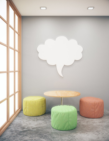 side table: Red brick hipster interior with small coffee table, seats and abstract thought cloud on wall. Side view, Mock up, 3D Rendering