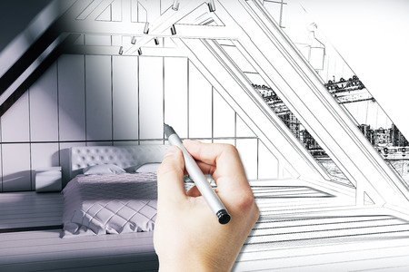 architecture drawing: Male hand drawing loft bedroom blueprint with furniture. 3D Rendering Stock Photo