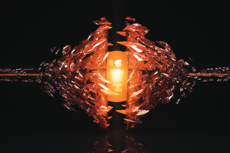 Abstract broken amber glass figure on dark background with reflection. 3D Rendering Stock Photo