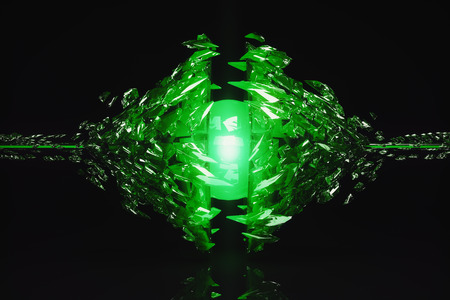 glass reflection: Abstract broken emerald glass figure on dark background with reflection. 3D Rendering Stock Photo