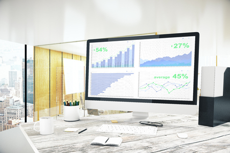 Office workplace with business chart on computer screen. Financial growth concept. 3D Rendering